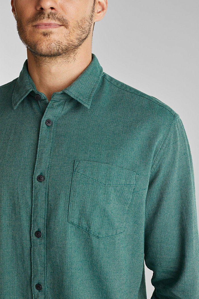 Brushed herringbone pattern shirt, 100% organic cotton, BOTTLE GREEN, detail image number 2