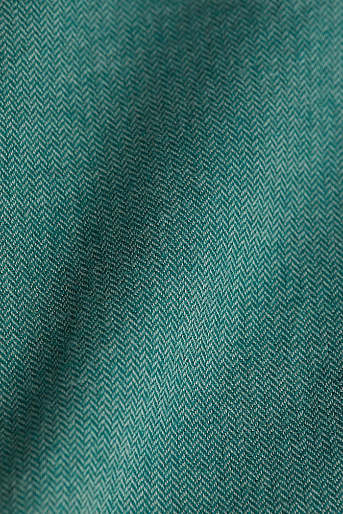 Brushed herringbone pattern shirt, 100% organic cotton, BOTTLE GREEN, detail image number 4