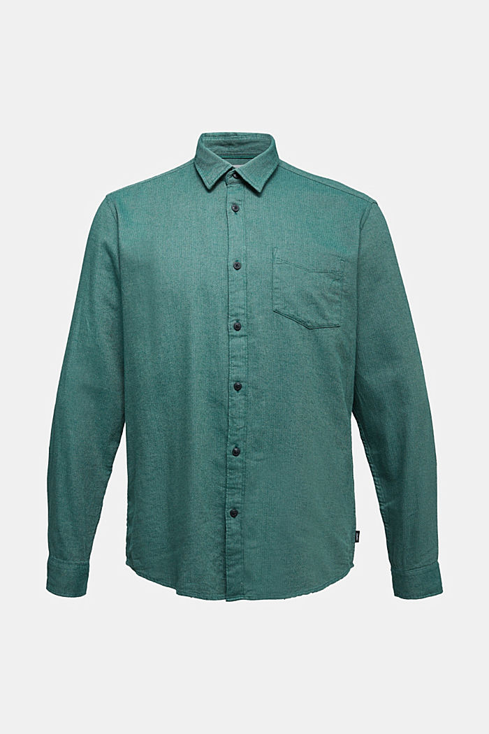 Brushed herringbone pattern shirt, 100% organic cotton, BOTTLE GREEN, detail image number 5