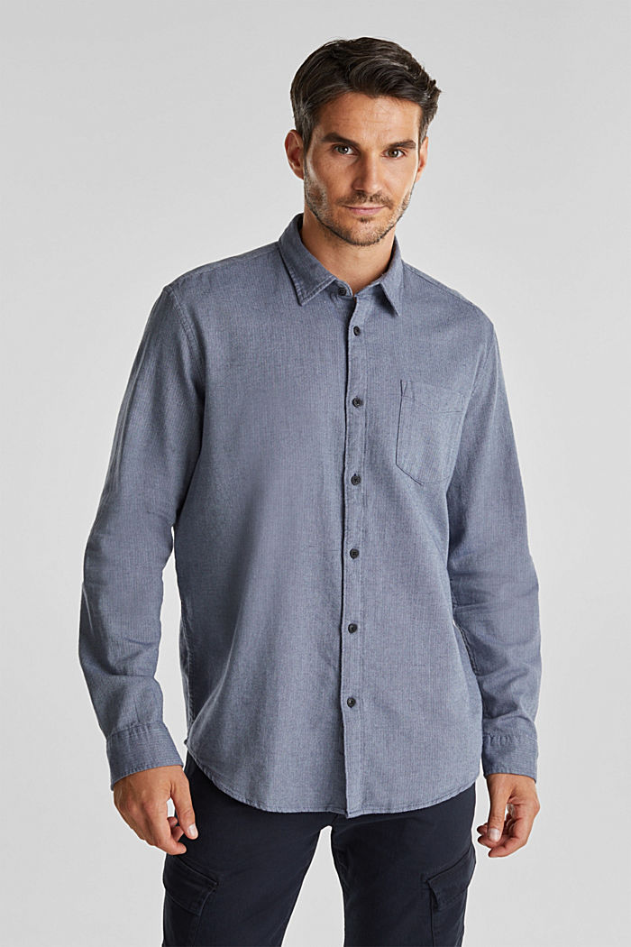 Brushed herringbone pattern shirt, 100% organic cotton, NAVY, detail image number 0