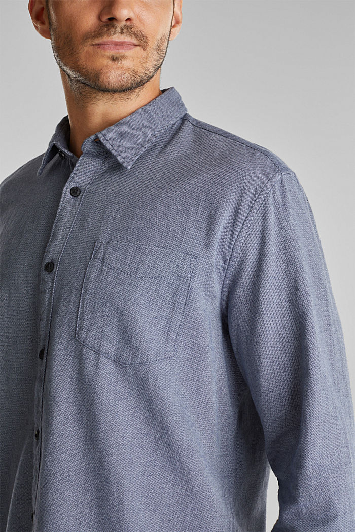 Brushed herringbone pattern shirt, 100% organic cotton, NAVY, detail image number 2