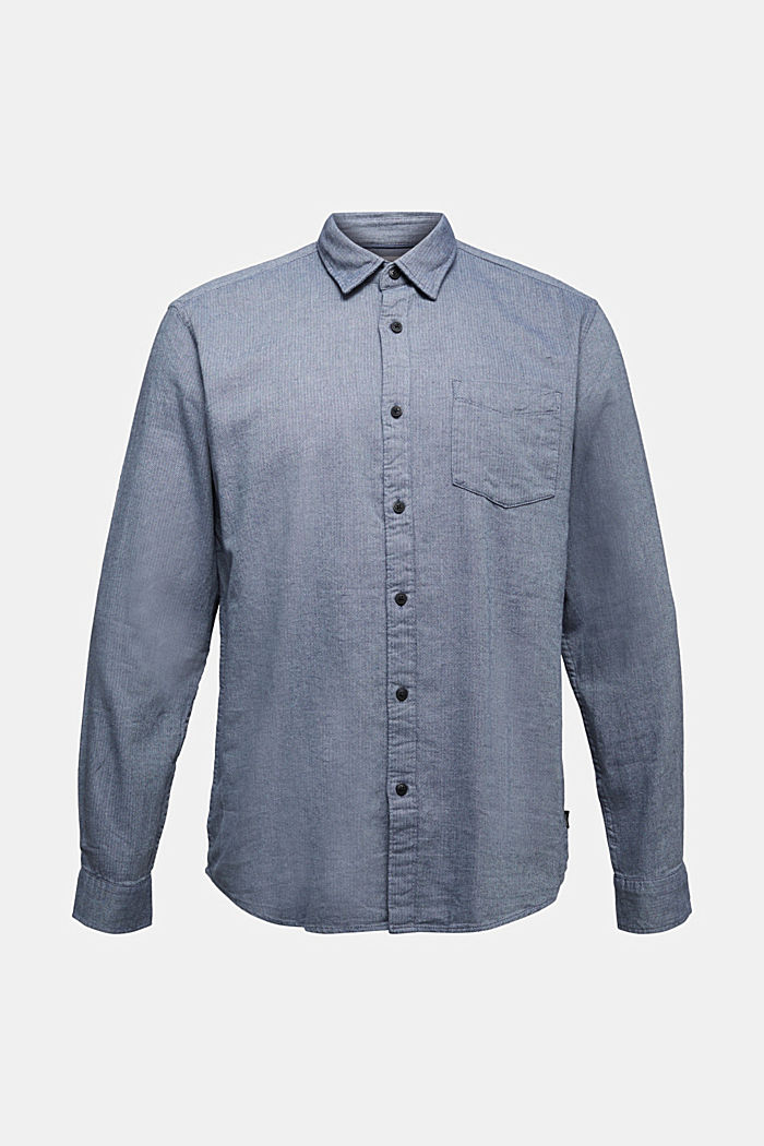 Brushed herringbone pattern shirt, 100% organic cotton, NAVY, detail image number 5