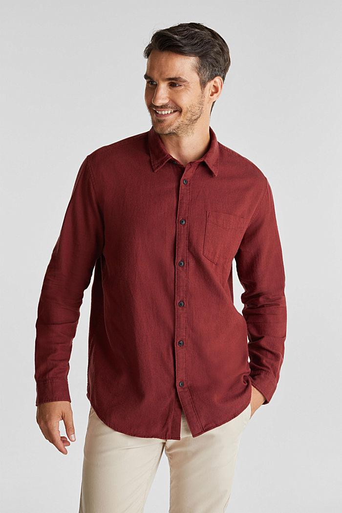 Brushed herringbone pattern shirt, 100% organic cotton, BORDEAUX RED, detail image number 0