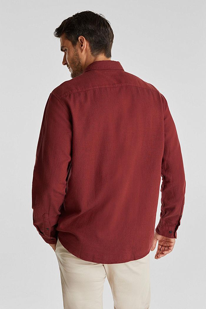 Brushed herringbone pattern shirt, 100% organic cotton, BORDEAUX RED, detail image number 3