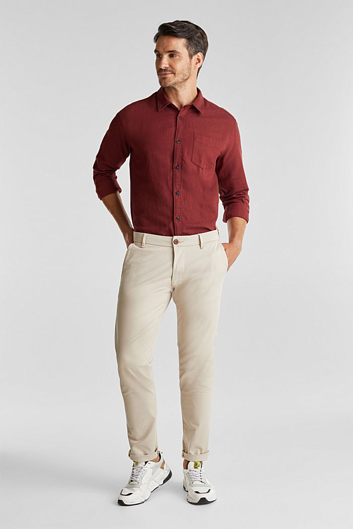 Brushed herringbone pattern shirt, 100% organic cotton, BORDEAUX RED, detail image number 1