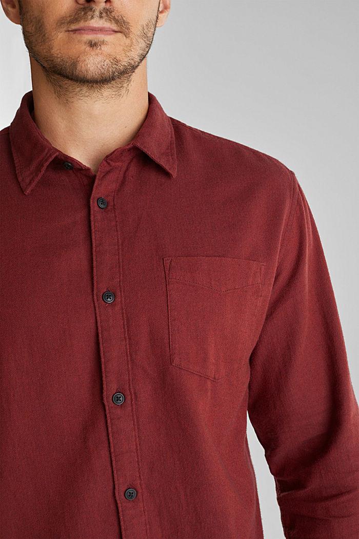 Brushed herringbone pattern shirt, 100% organic cotton, BORDEAUX RED, detail image number 2