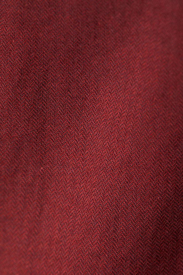 Brushed herringbone pattern shirt, 100% organic cotton, BORDEAUX RED, detail image number 4