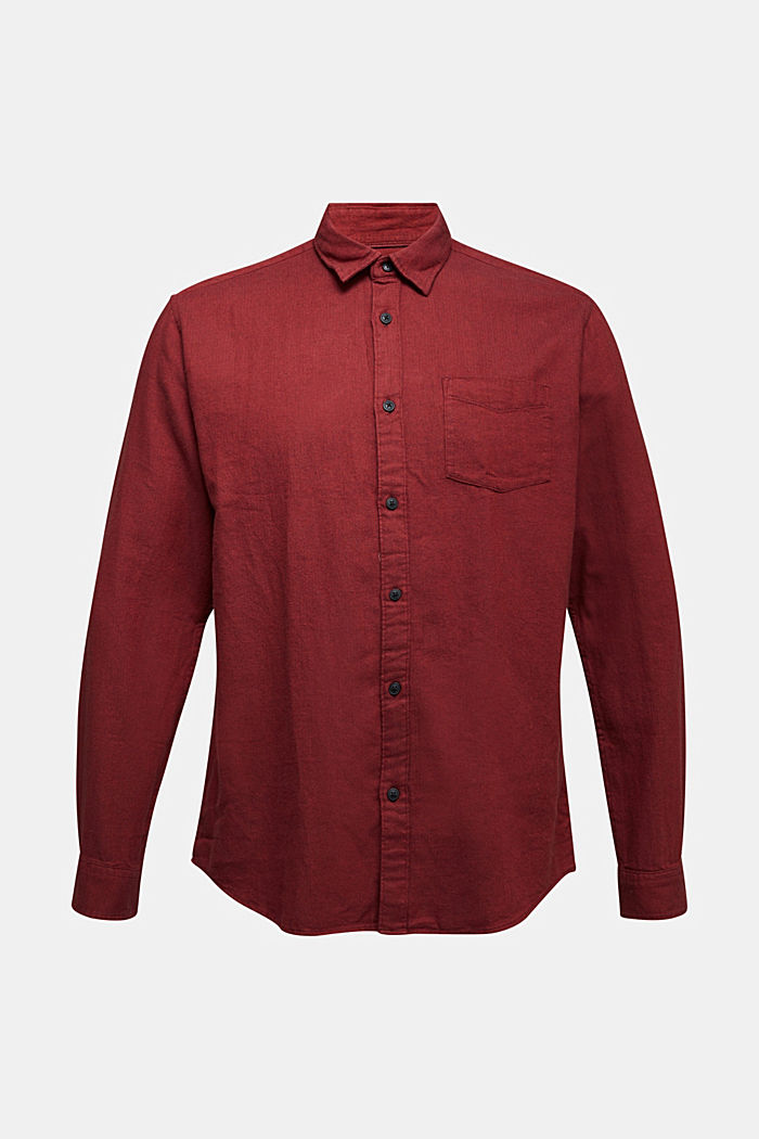 Brushed herringbone pattern shirt, 100% organic cotton, BORDEAUX RED, detail image number 5