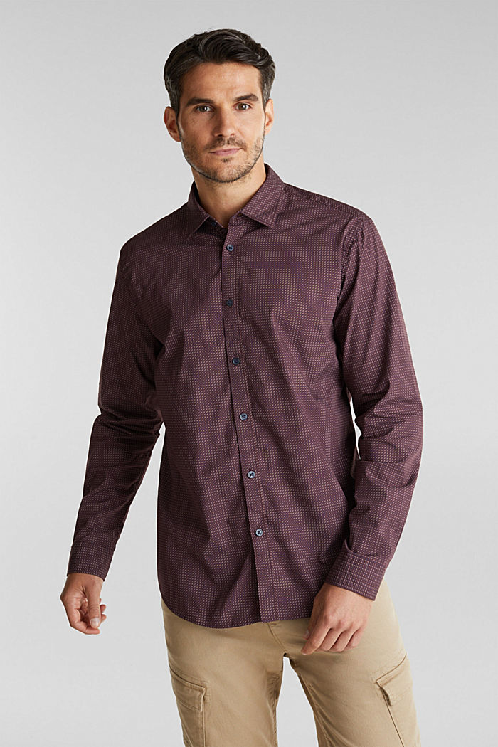 Shirt with a minimalist print, 100% organic cotton, BORDEAUX RED, detail image number 0