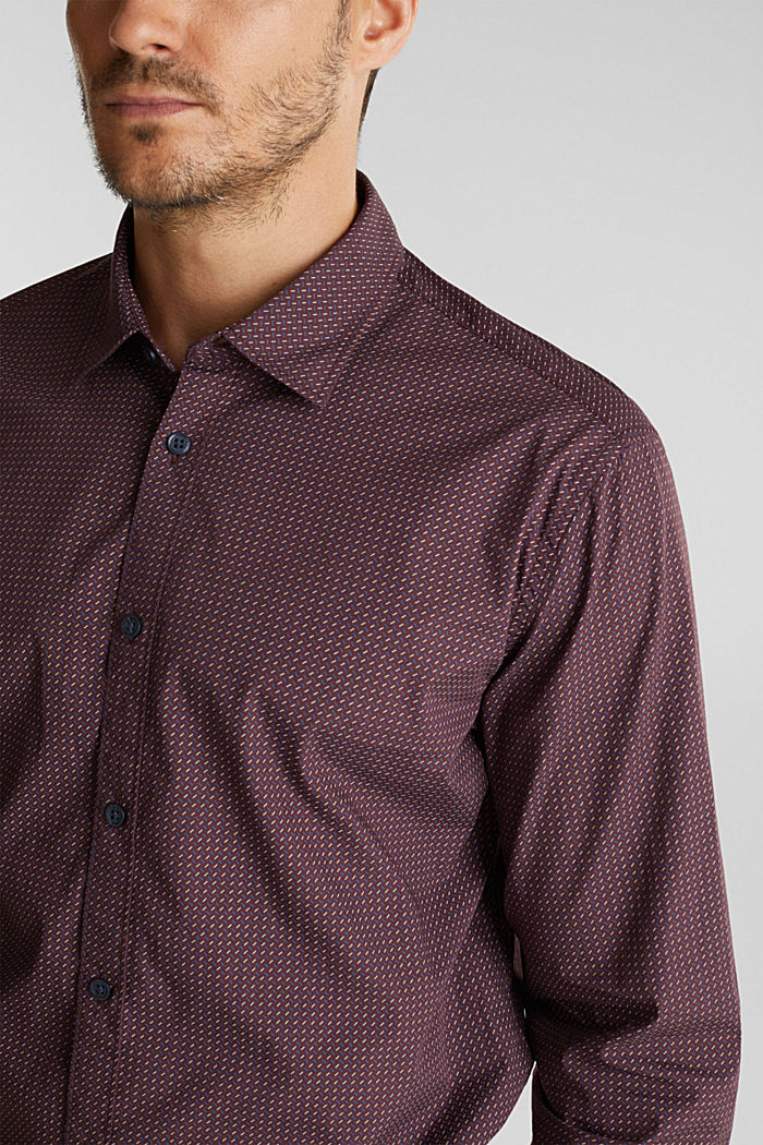 Shirt with a minimalist print, 100% organic cotton, BORDEAUX RED, detail image number 2