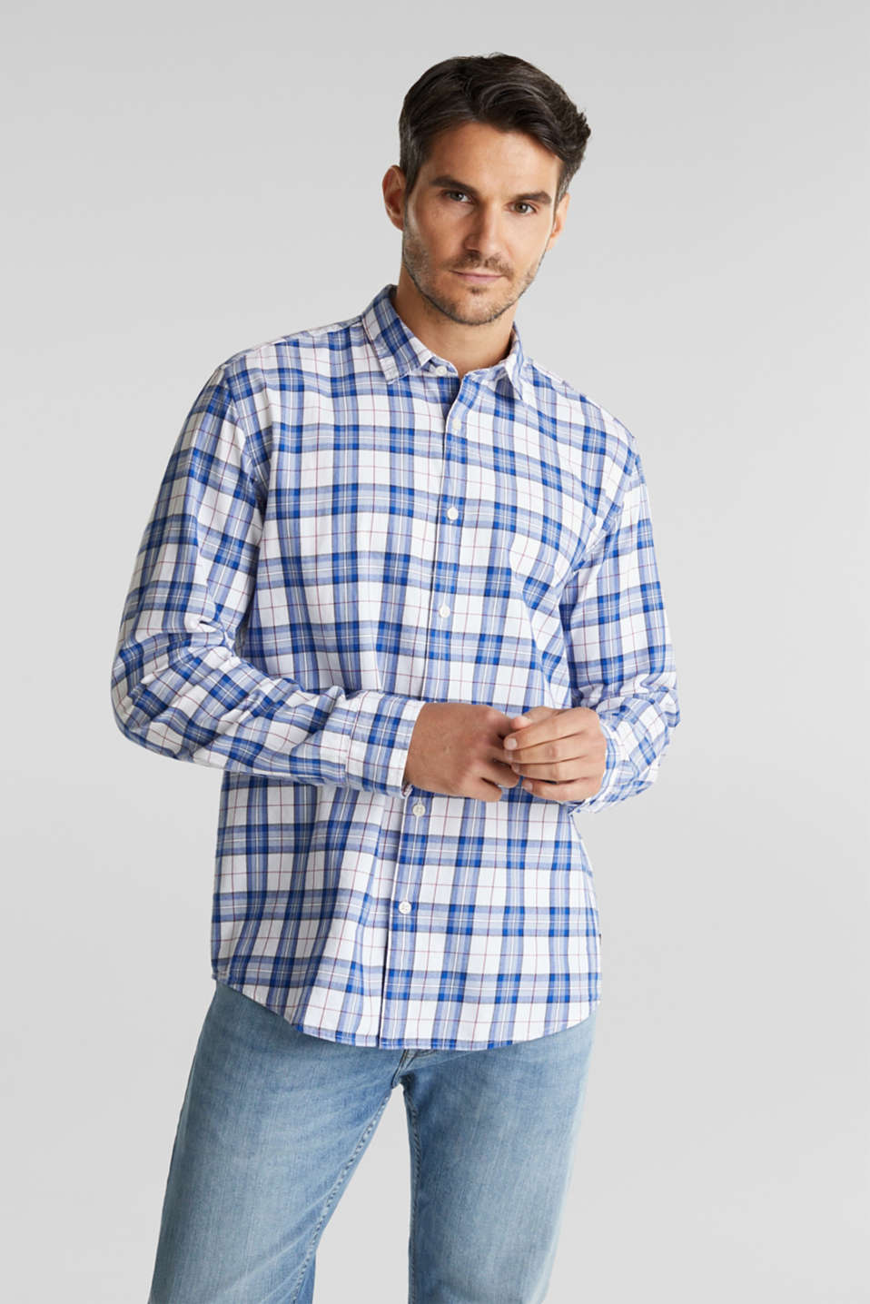 Esprit - Checked shirt made of 100% organic cotton
