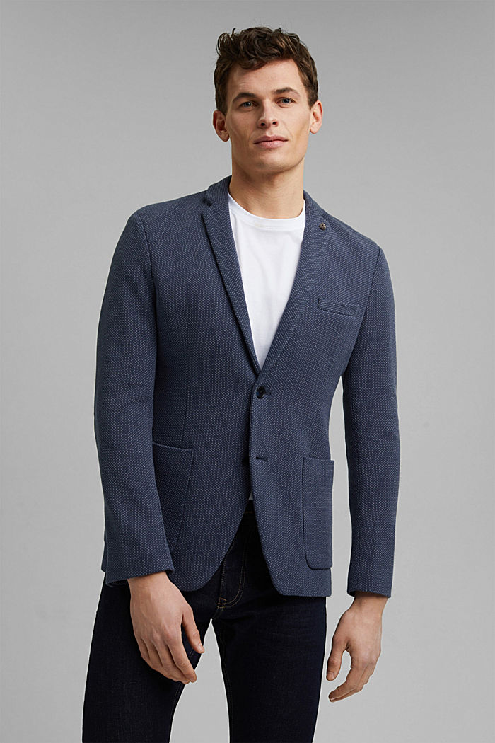 Patterned knit sports jacket, GREY BLUE, detail image number 0
