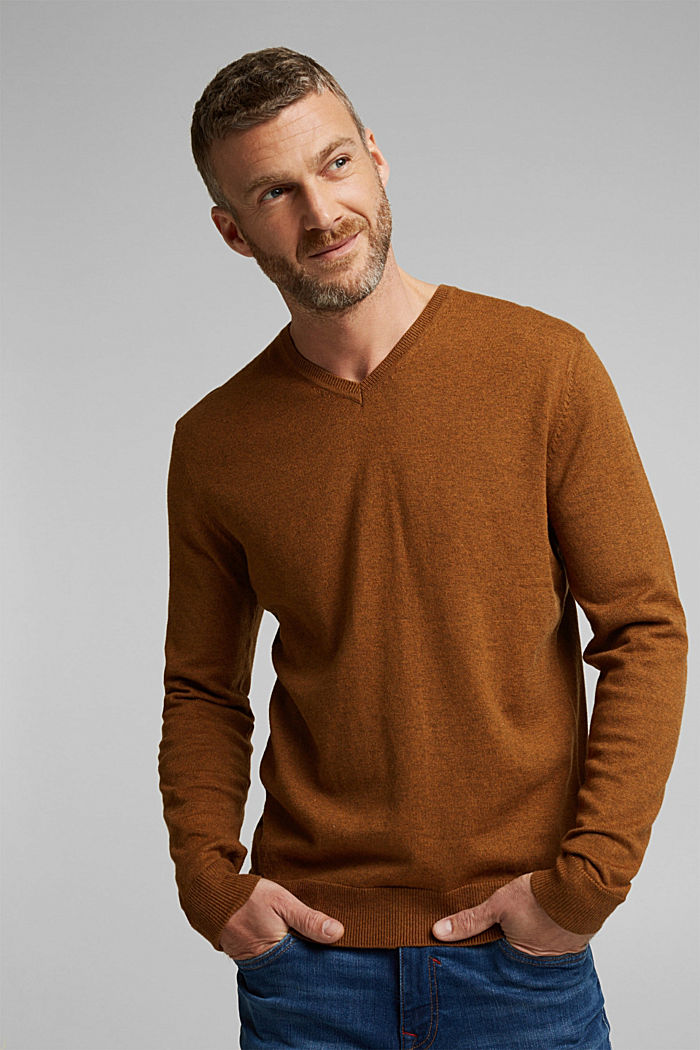 With cashmere: jumper made of organic cotton, BARK, detail image number 0