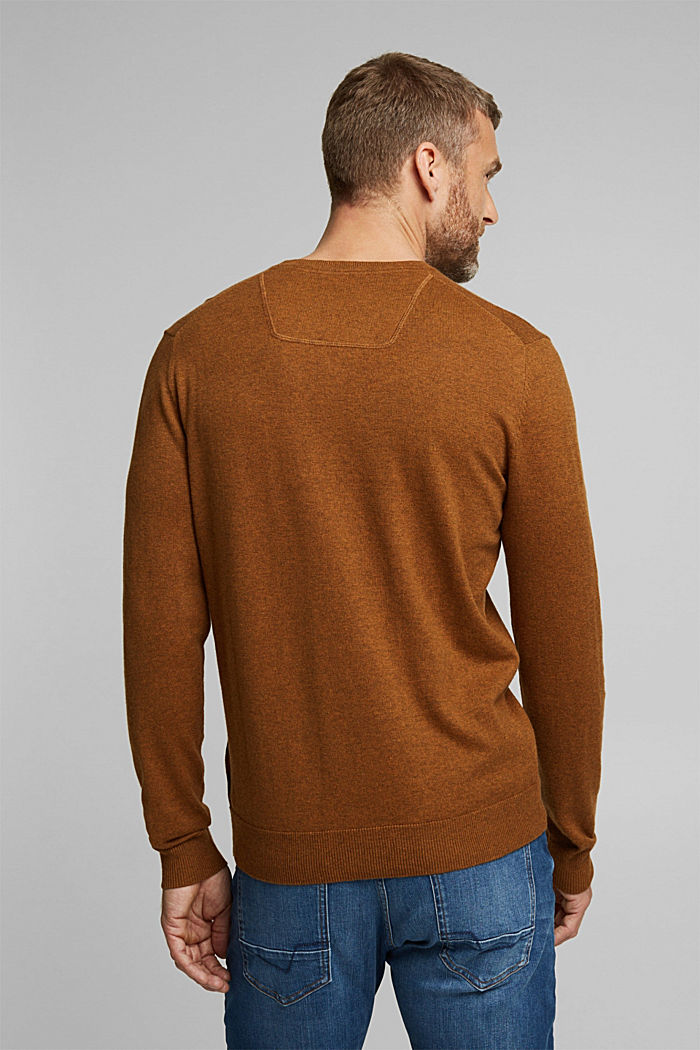 With cashmere: jumper made of organic cotton, BARK, detail image number 3