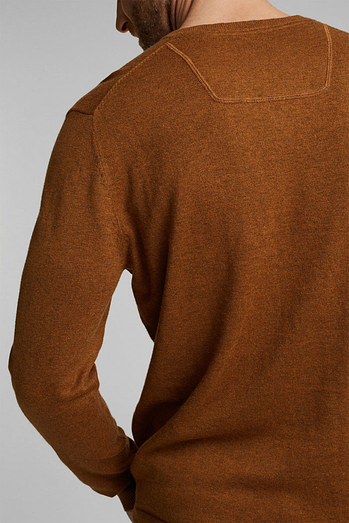 With cashmere: jumper made of organic cotton, BARK, detail image number 2