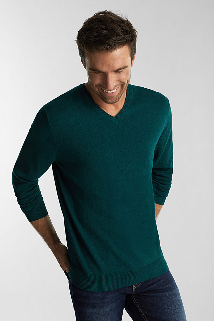 Met kasjmier: trui van organic cotton, BOTTLE GREEN, detail image number 0