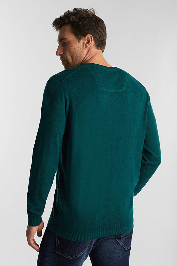 Met kasjmier: trui van organic cotton, BOTTLE GREEN, detail image number 3