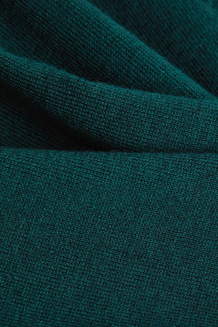 Met kasjmier: trui van organic cotton, BOTTLE GREEN, detail image number 4