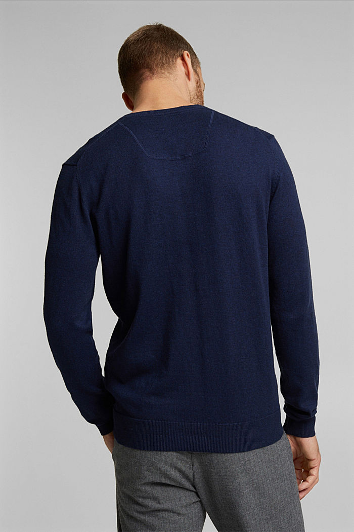 With cashmere: jumper made of organic cotton, INK, detail image number 3