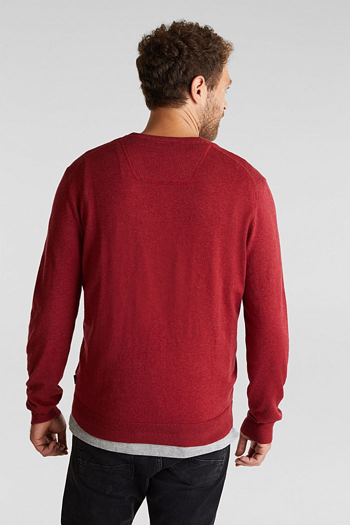 With cashmere: jumper made of organic cotton, GARNET RED, detail image number 3