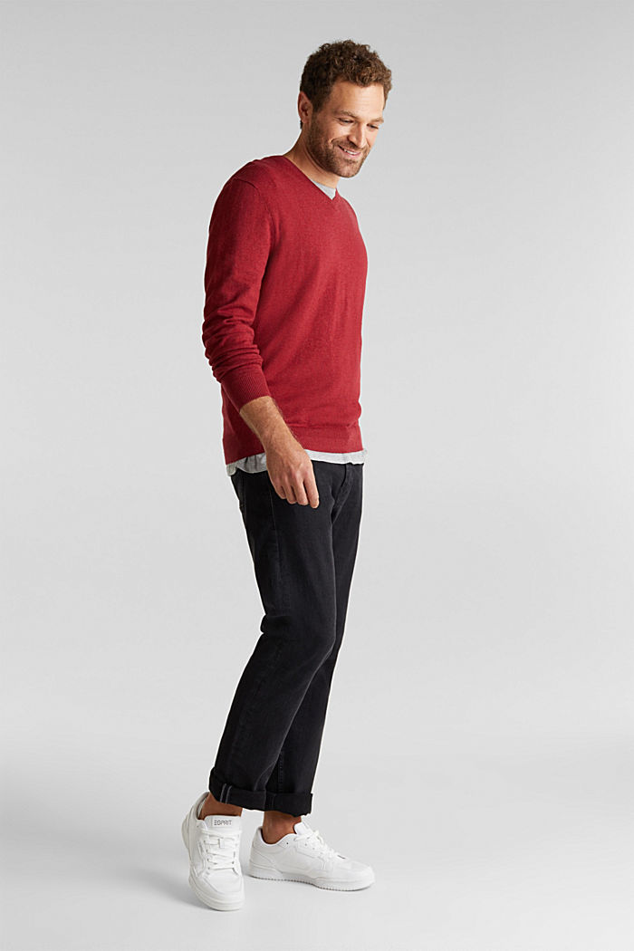 With cashmere: jumper made of organic cotton, GARNET RED, detail image number 1