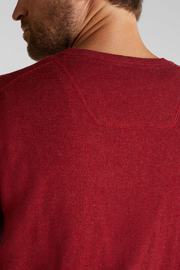 With cashmere: jumper made of organic cotton, GARNET RED, detail image number 2