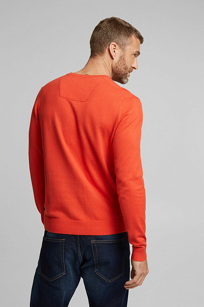 With cashmere: jumper made of organic cotton, BURNT ORANGE, detail image number 3