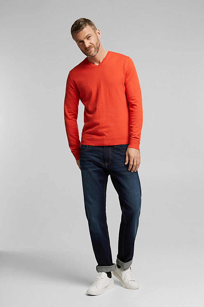 With cashmere: jumper made of organic cotton, BURNT ORANGE, detail image number 5