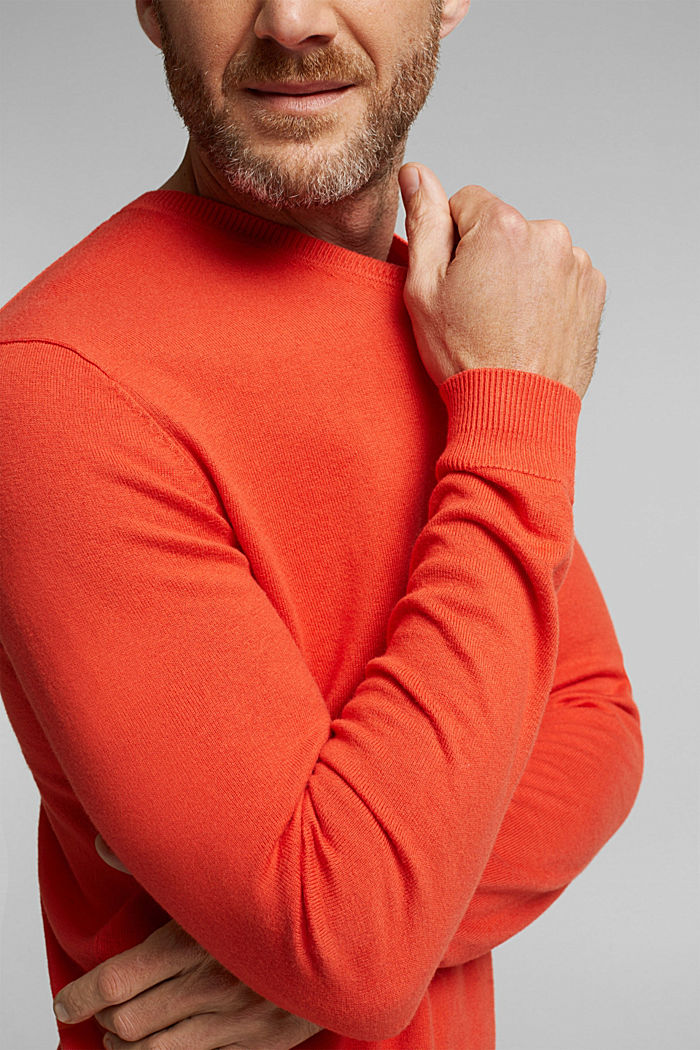 With cashmere: jumper made of organic cotton, BURNT ORANGE, detail image number 2