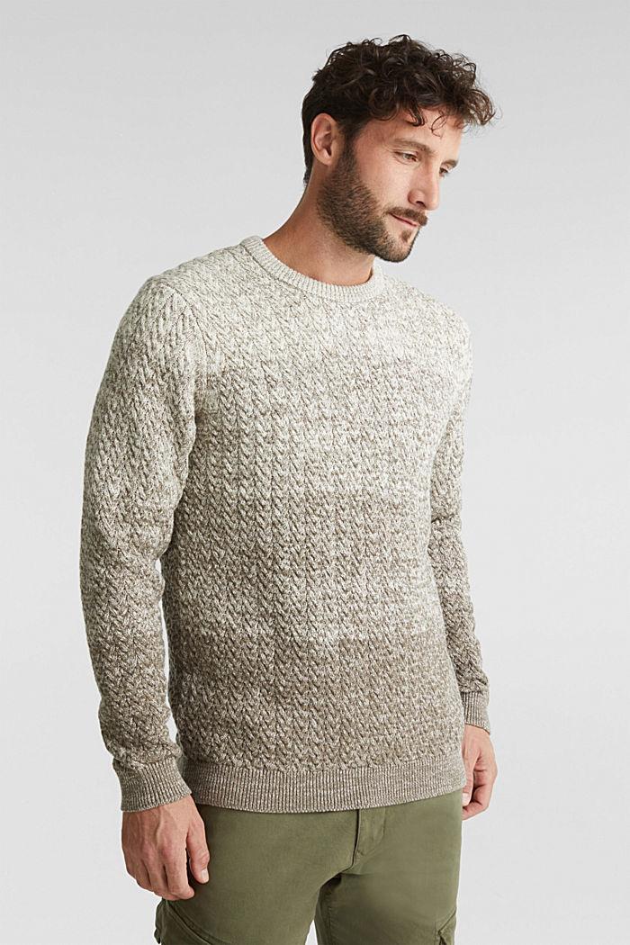 Textured jumper made of 100% organic cotton, CREAM BEIGE, detail image number 0