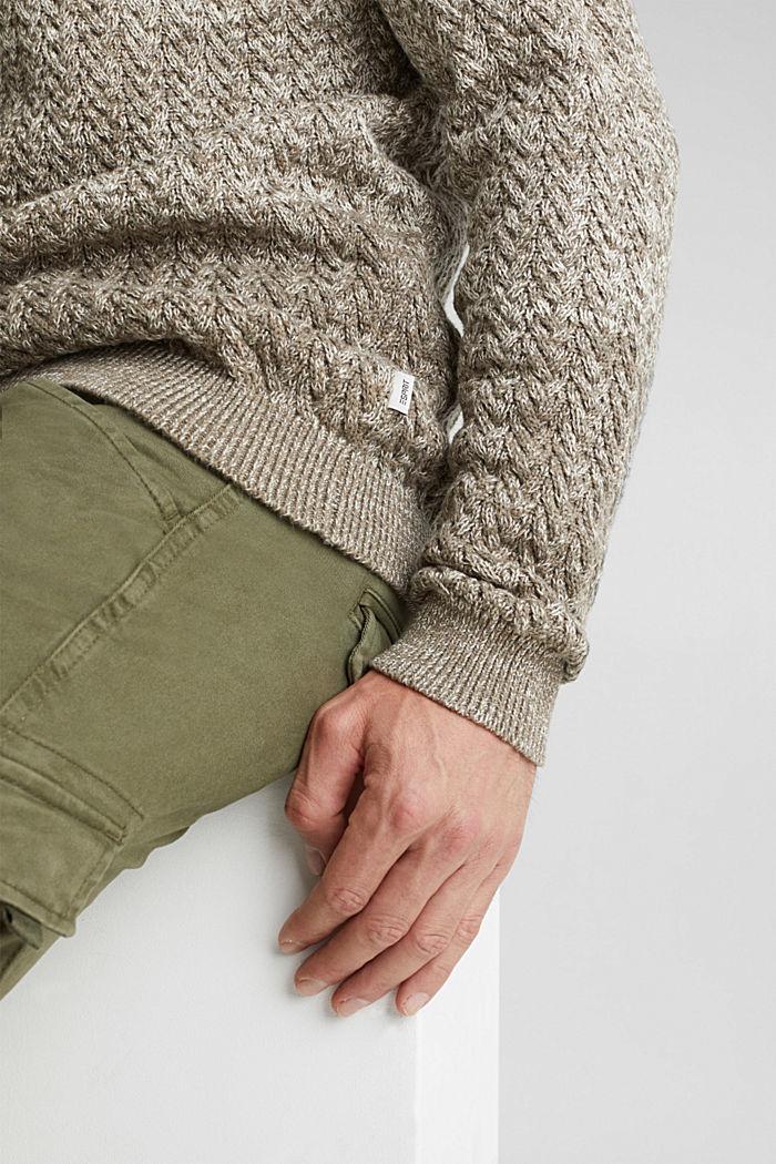 Struktur-Pullover aus 100% Organic Cotton, CREAM BEIGE, detail image number 2