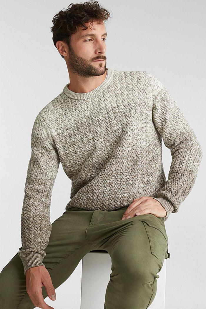 Struktur-Pullover aus 100% Organic Cotton, CREAM BEIGE, detail image number 5