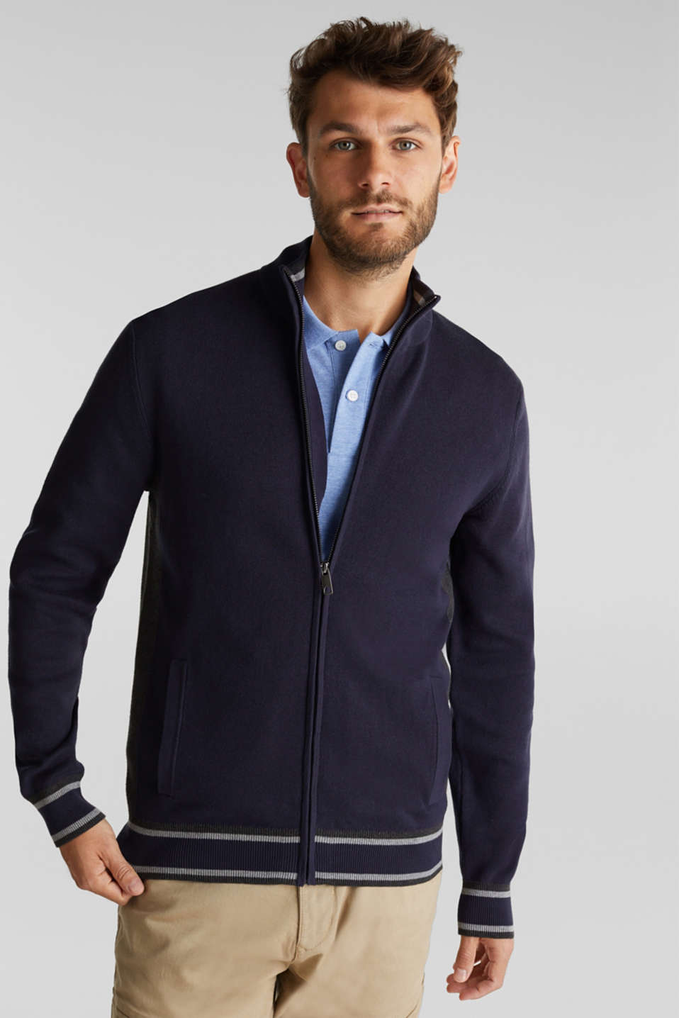Esprit - Zipper-Cardigan aus 100% Organic Cotton