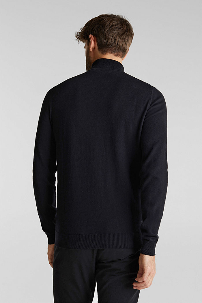 Polo neck jumper with cashmere, BLACK, detail image number 3