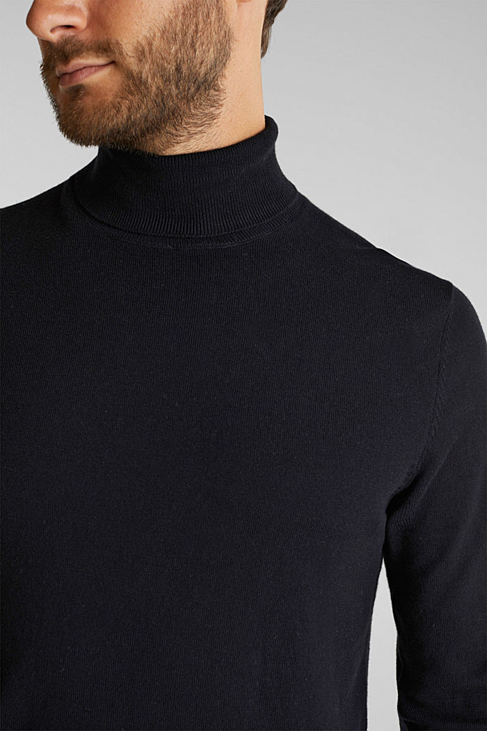 Polo neck jumper with cashmere, BLACK, detail image number 2
