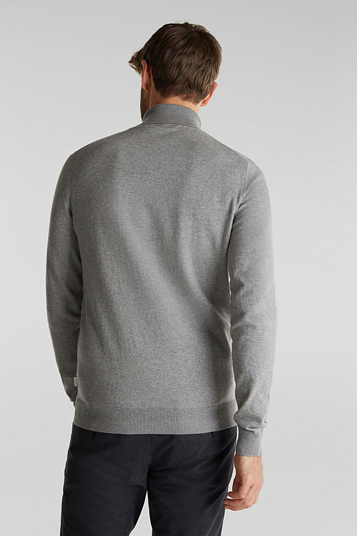 Polo neck jumper with cashmere, MEDIUM GREY, detail image number 3