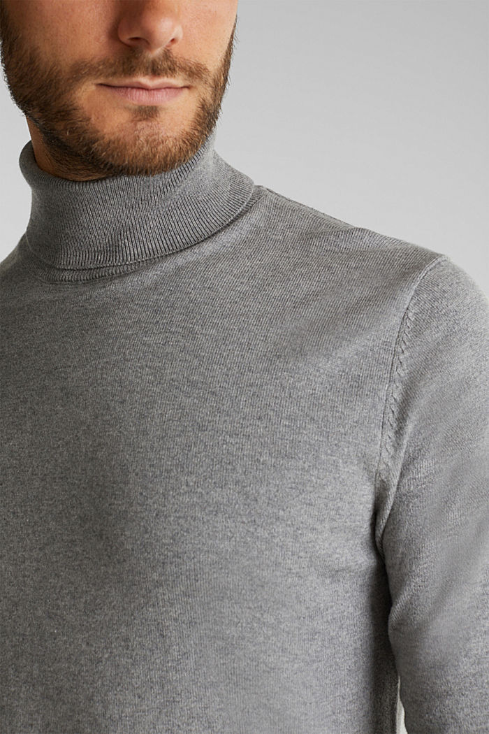 Polo neck jumper with cashmere, MEDIUM GREY, detail image number 2