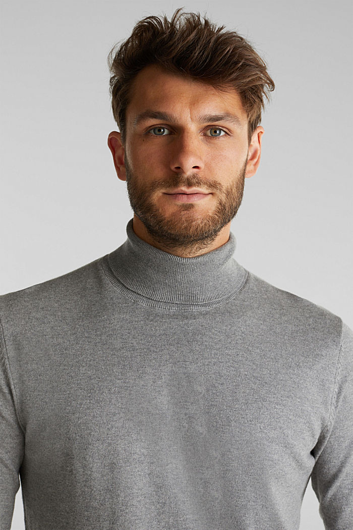Polo neck jumper with cashmere, MEDIUM GREY, detail image number 5