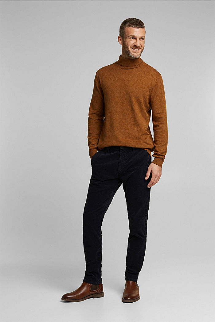 Polo neck jumper with cashmere, BARK, detail image number 7
