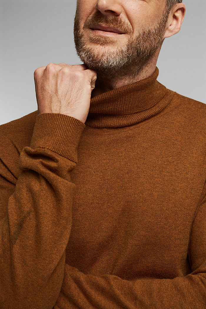 Polo neck jumper with cashmere, BARK, detail image number 2