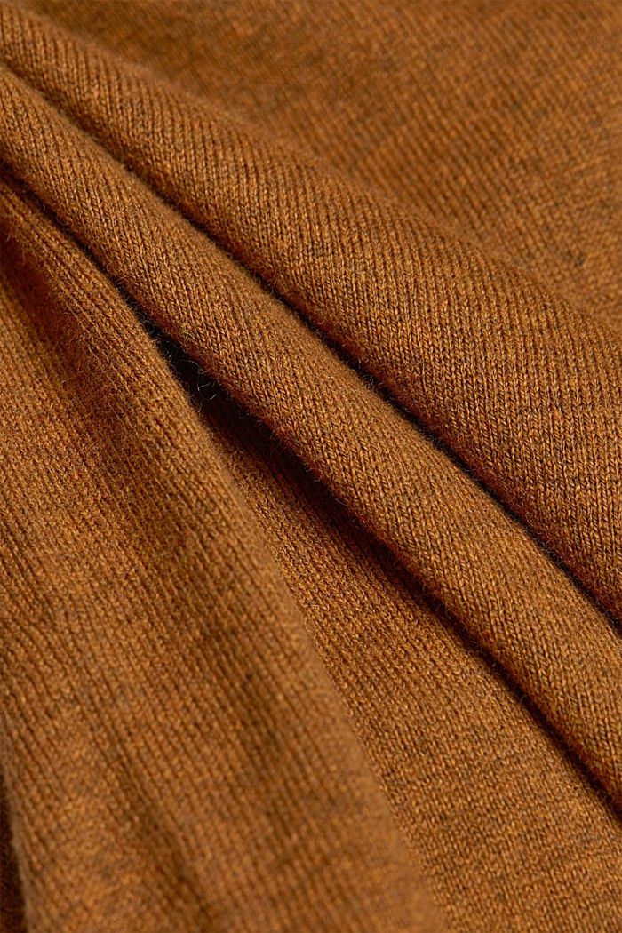 Polo neck jumper with cashmere, BARK, detail image number 4