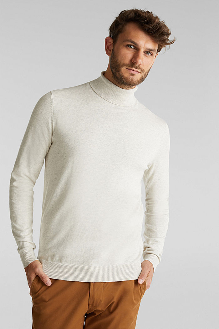 Polo neck jumper with cashmere, LIGHT BEIGE, detail image number 0