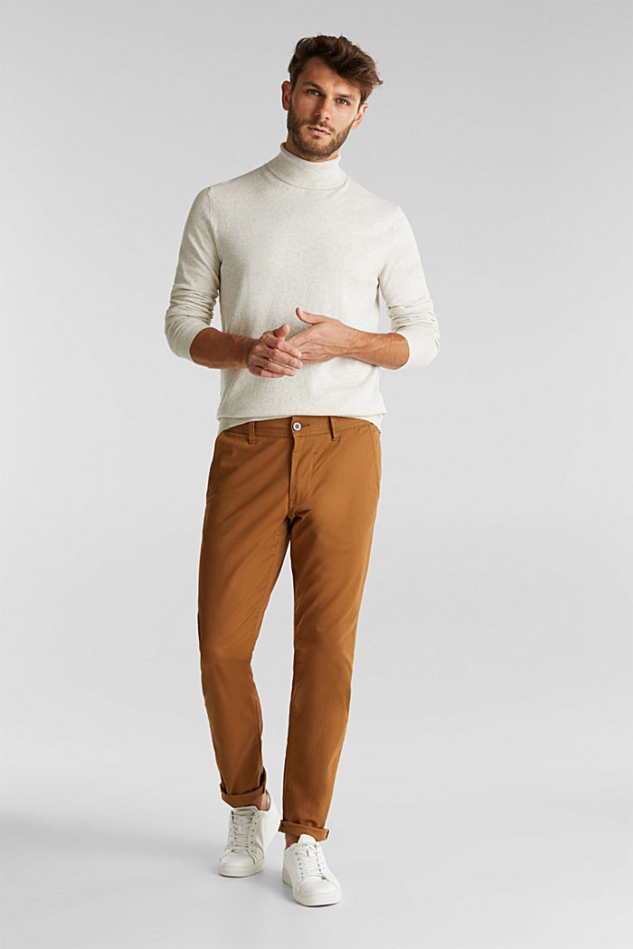 Polo neck jumper with cashmere, LIGHT BEIGE, detail image number 1