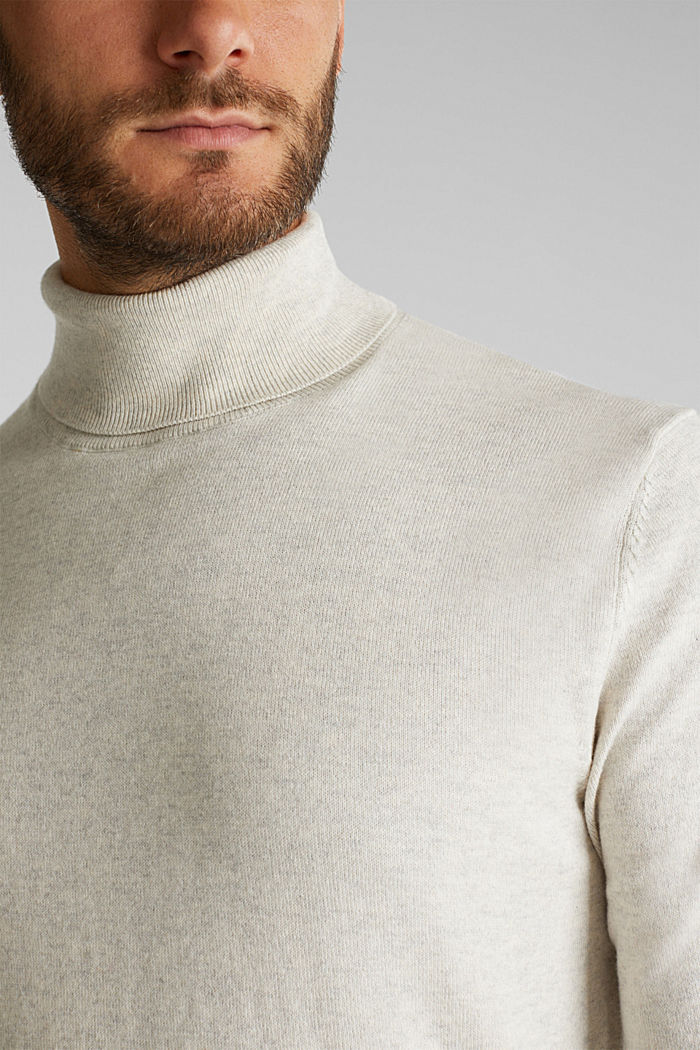Polo neck jumper with cashmere, LIGHT BEIGE, detail image number 2