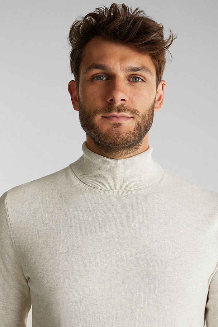 Polo neck jumper with cashmere, LIGHT BEIGE, detail image number 5
