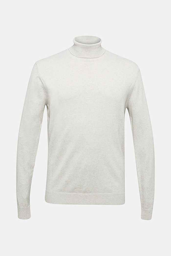 Polo neck jumper with cashmere, LIGHT BEIGE, detail image number 6