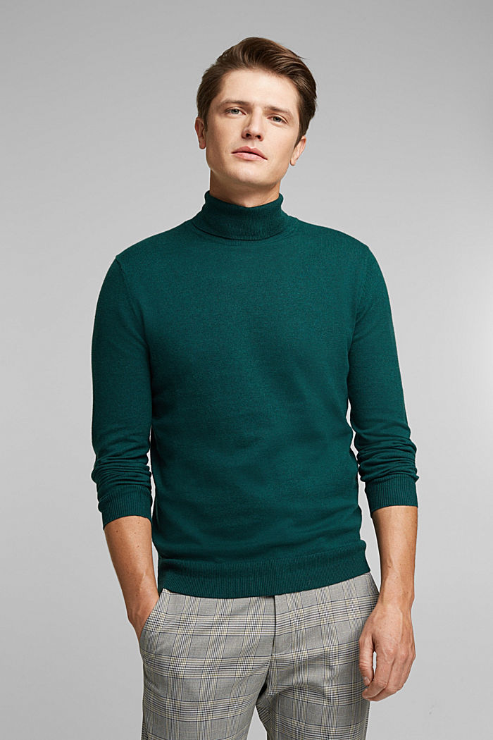 Polo neck jumper with cashmere, BOTTLE GREEN, detail image number 0