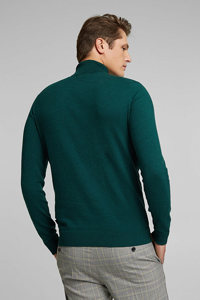 Polo neck jumper with cashmere, BOTTLE GREEN, detail image number 3