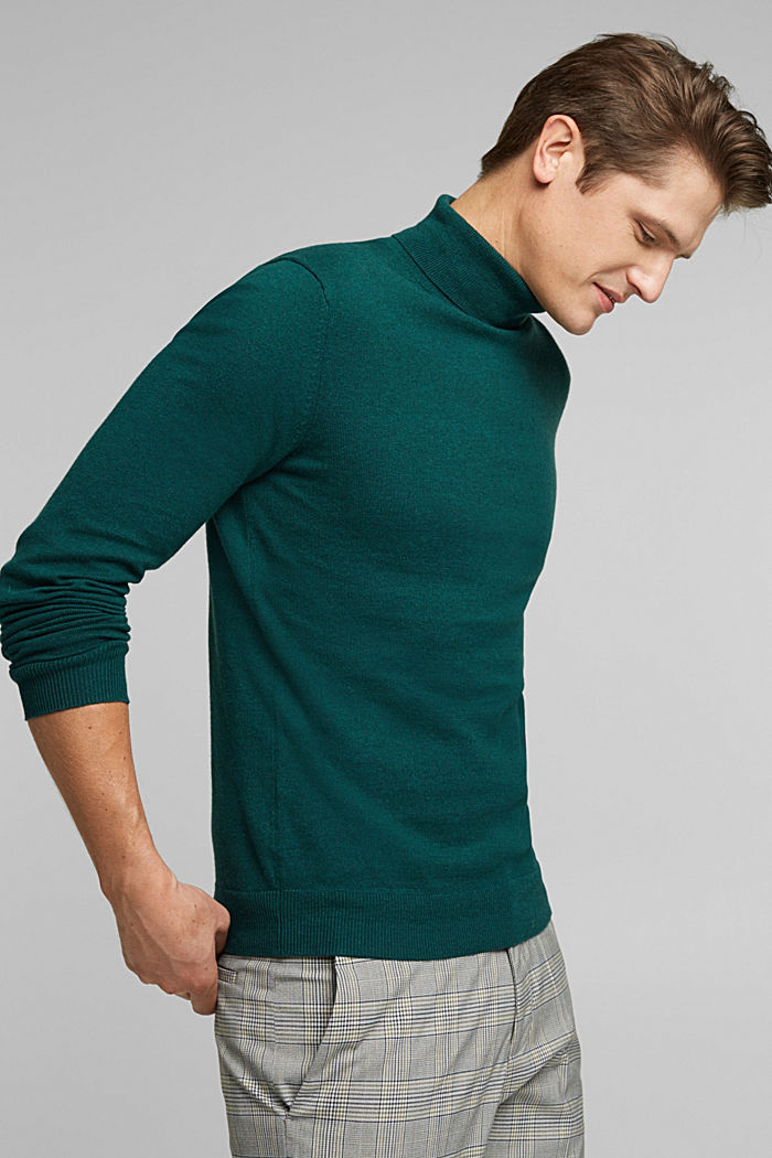 Polo neck jumper with cashmere, BOTTLE GREEN, detail image number 7