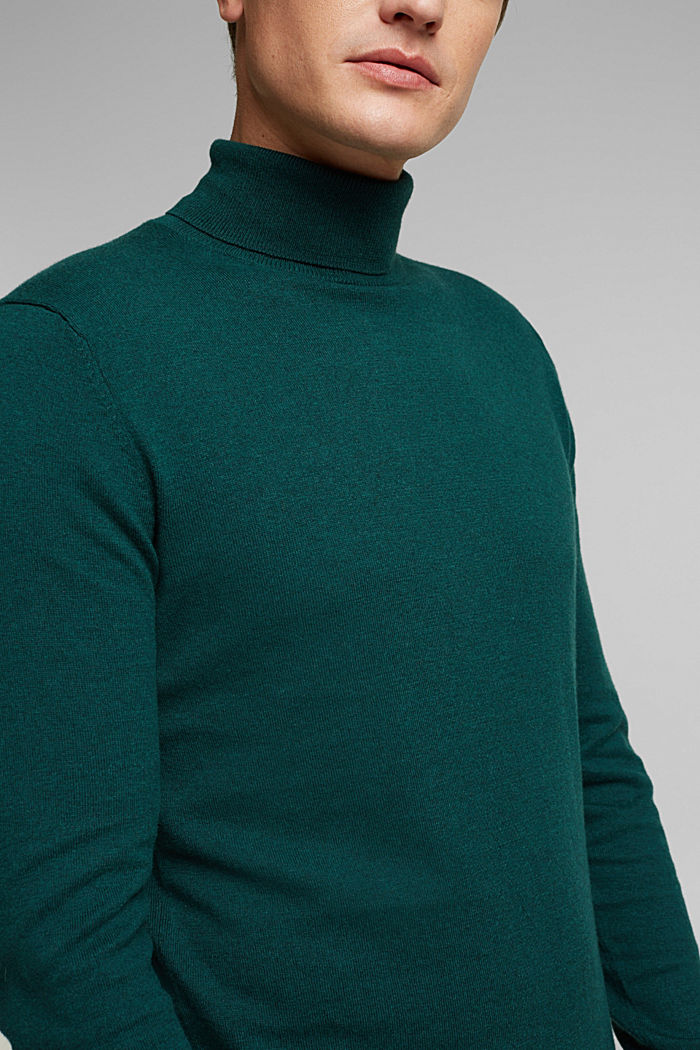 Polo neck jumper with cashmere, BOTTLE GREEN, detail image number 2